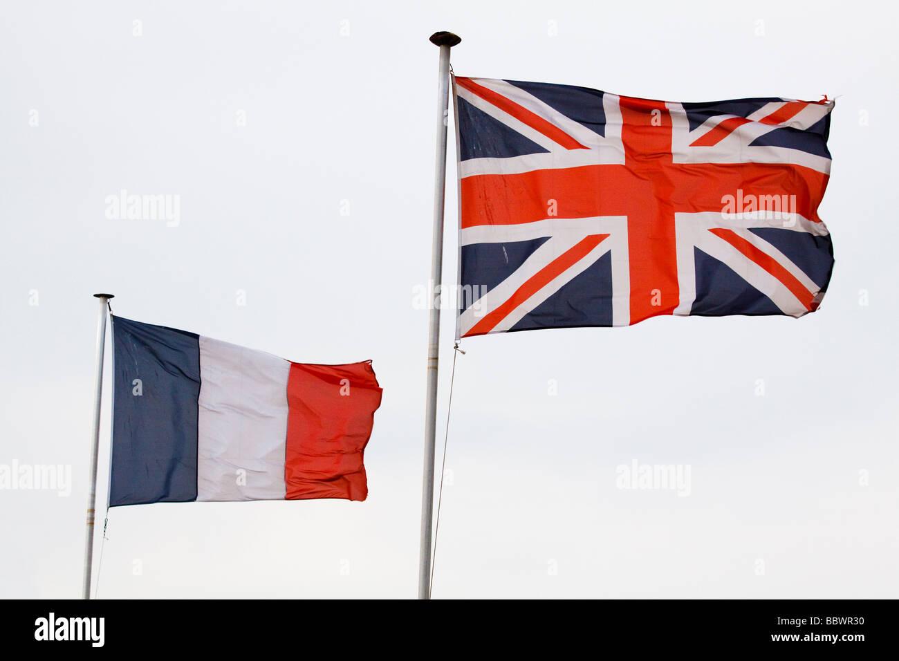 union jack and drapeau tricolore Stock Photo