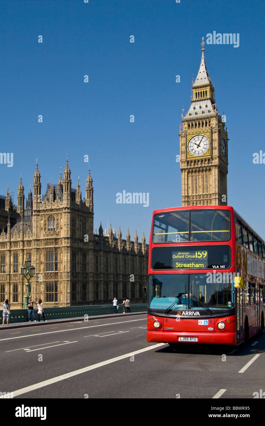 London Red Bus and 'Big Ben' with Houses of Parliament UK - Stock Image