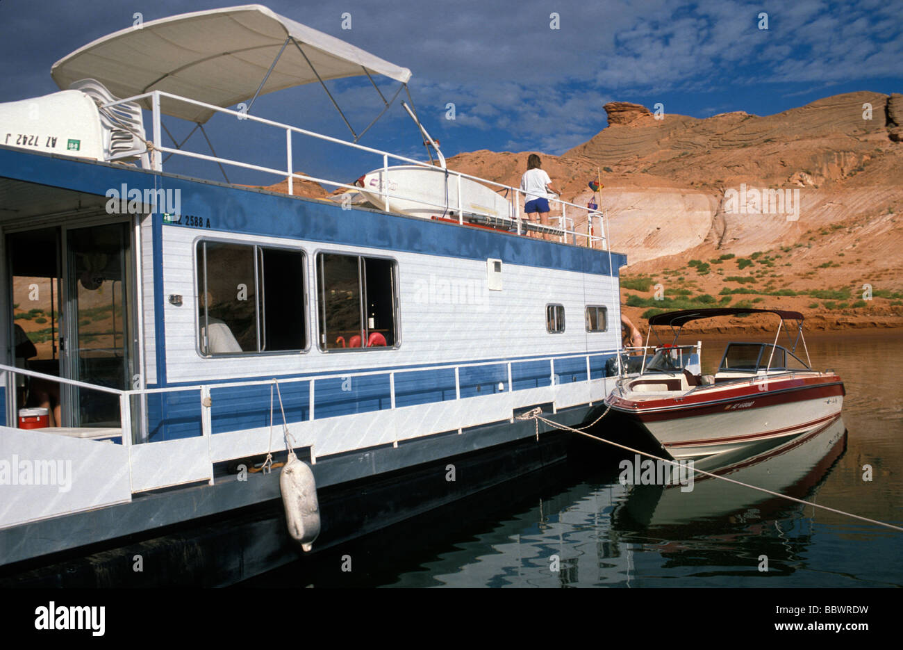 Houseboat On Lake Powell In Glen Canyon National Recreation