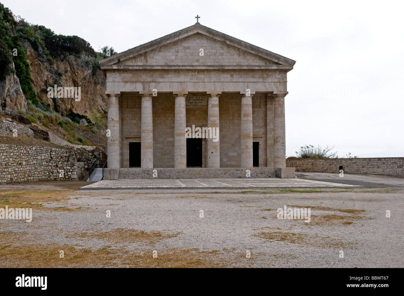 St George's Church built in a Neo-classical style with six Doric columns by the British in 1870, Old Fortress, - Stock Image