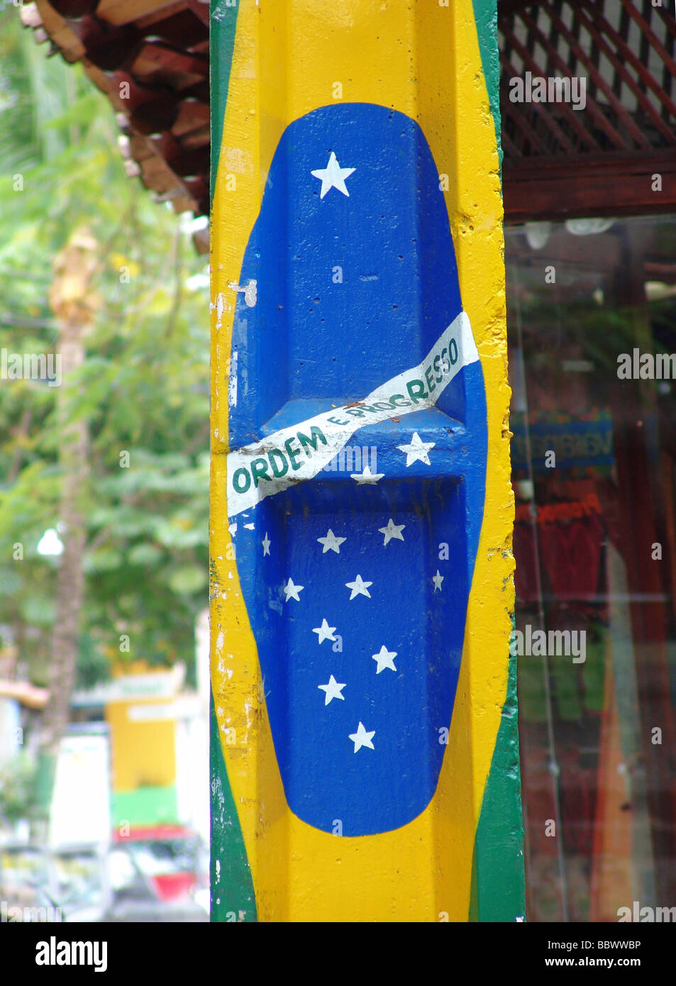 a painted brazilian flag at bahia brazil br - Stock Image