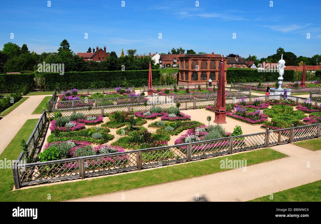 The new Victorian garden, Kenilworth Castle, Warwickshire, UK - Stock Image