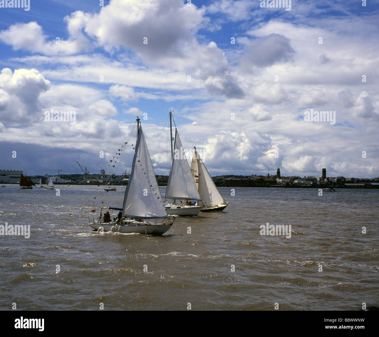 Yachts sailing on The River Mersey Liverpool Merseyside England - Stock Image