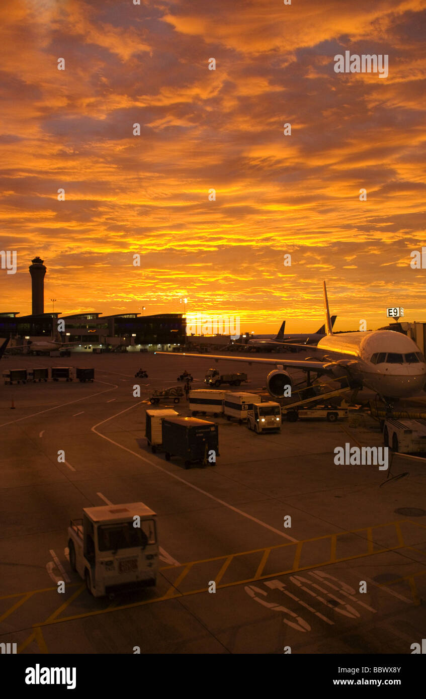 Airliners at terminal, sunrise, Houston International Airport - Stock Image