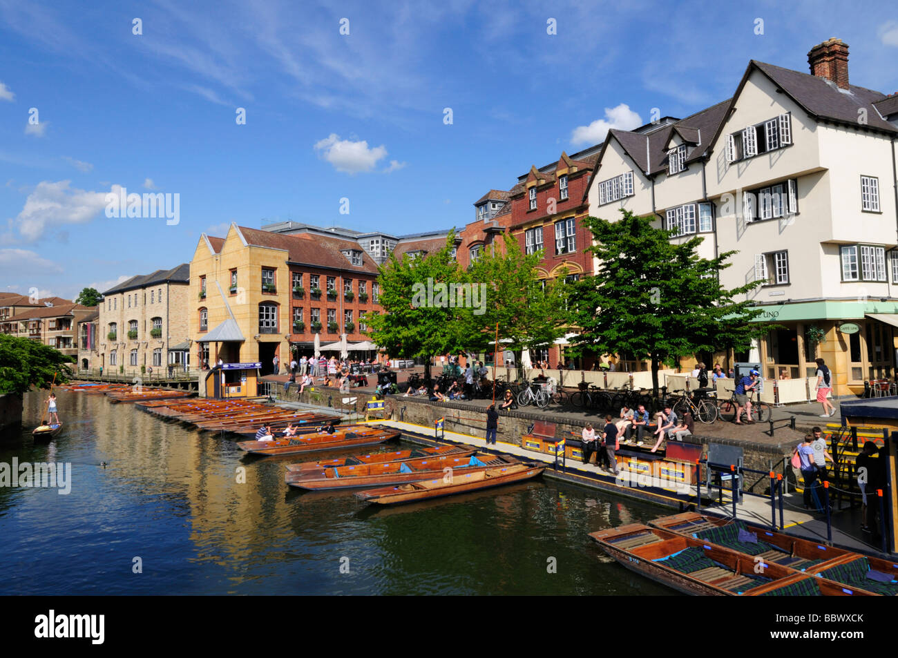 Punting on the River Cam at the Quayside and Magdalene Bridge area  of Cambridge England UK - Stock Image