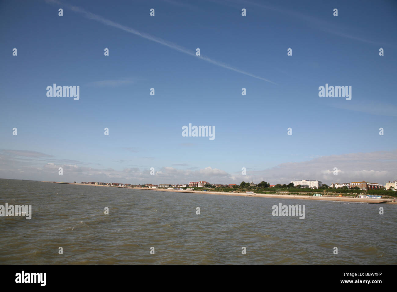 Clacton beach and seafront buildings - Stock Image