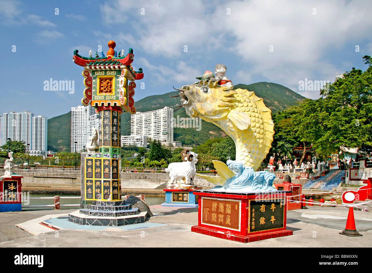 Statues with symbolic Chinese imagery, Park, Repulse Bay, seaside resort, Hong Kong, China, Asia - Stock Image