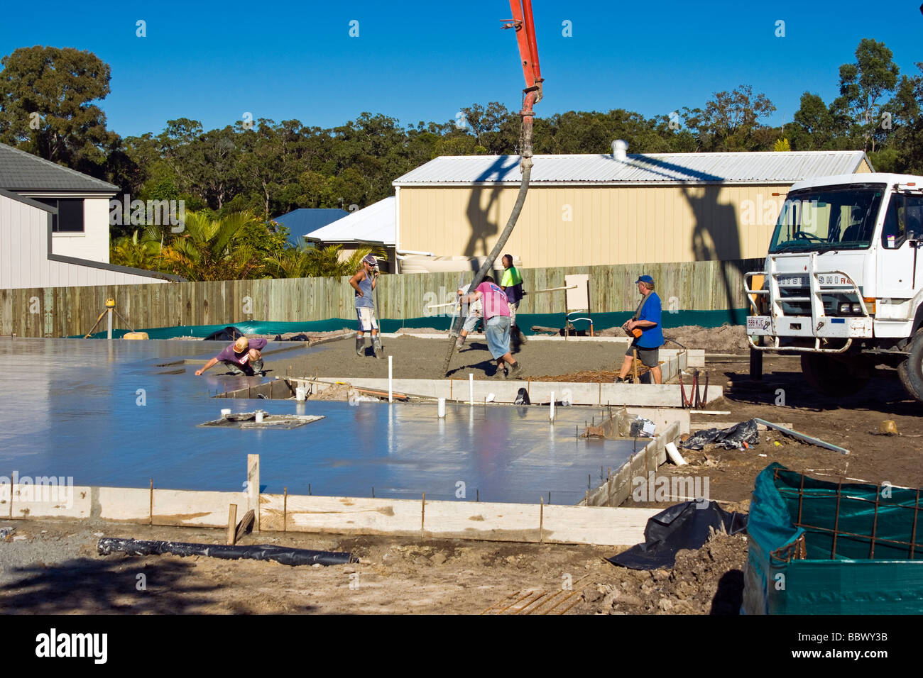 Pouring A Concrete Slab For A New House In Australia