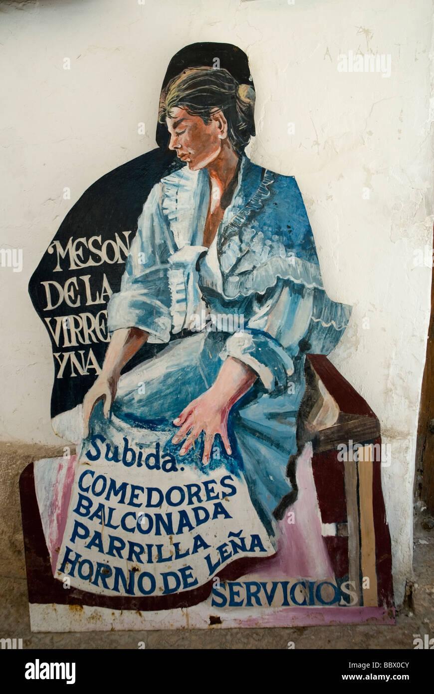 Placard menu at a tavern in Chinchon , Castilla la Mancha , Spain Stock Photo