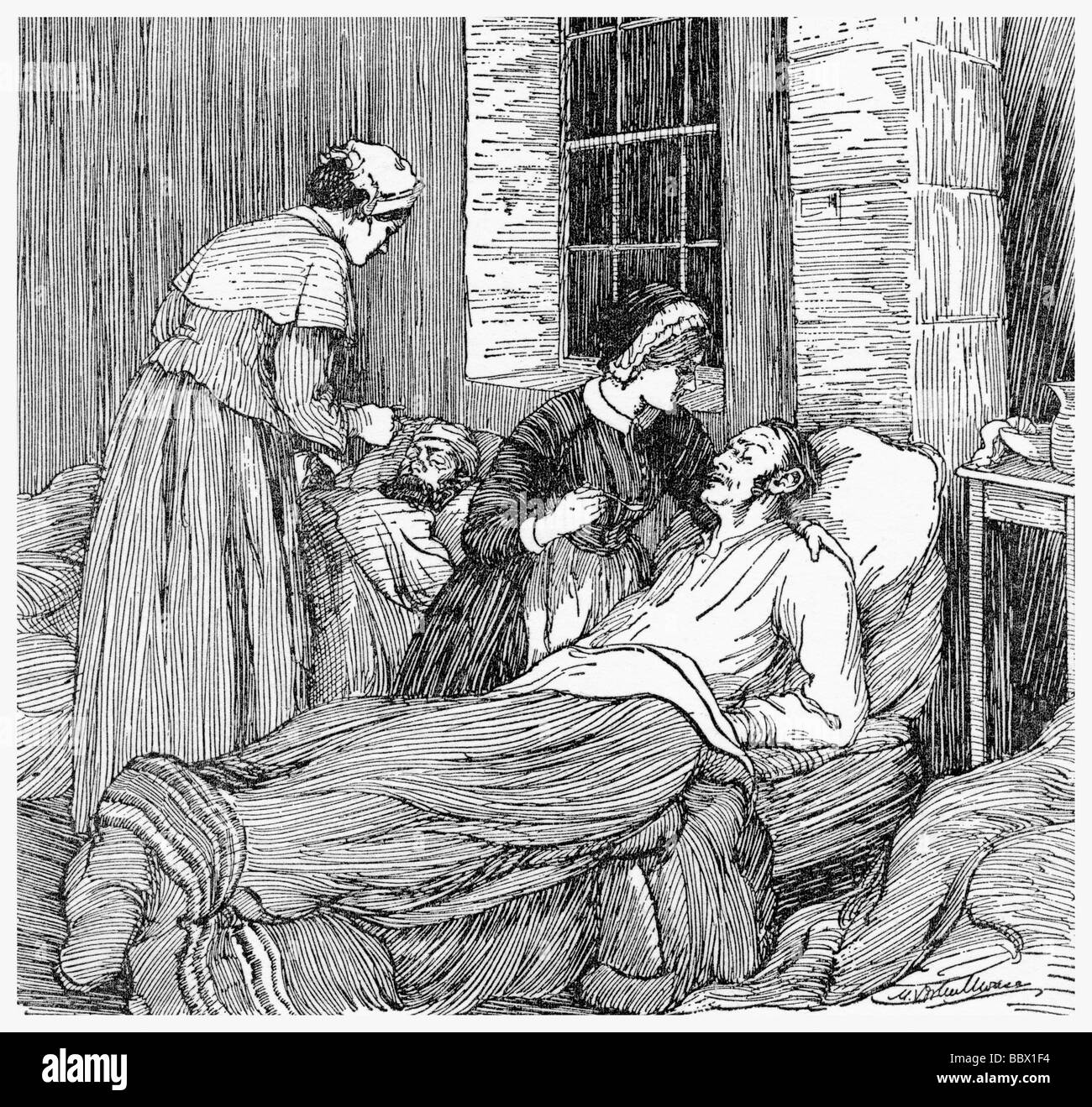 Florence Nightingale administers medicine to a severely wounded soldier during the Crimean War. - Stock Image
