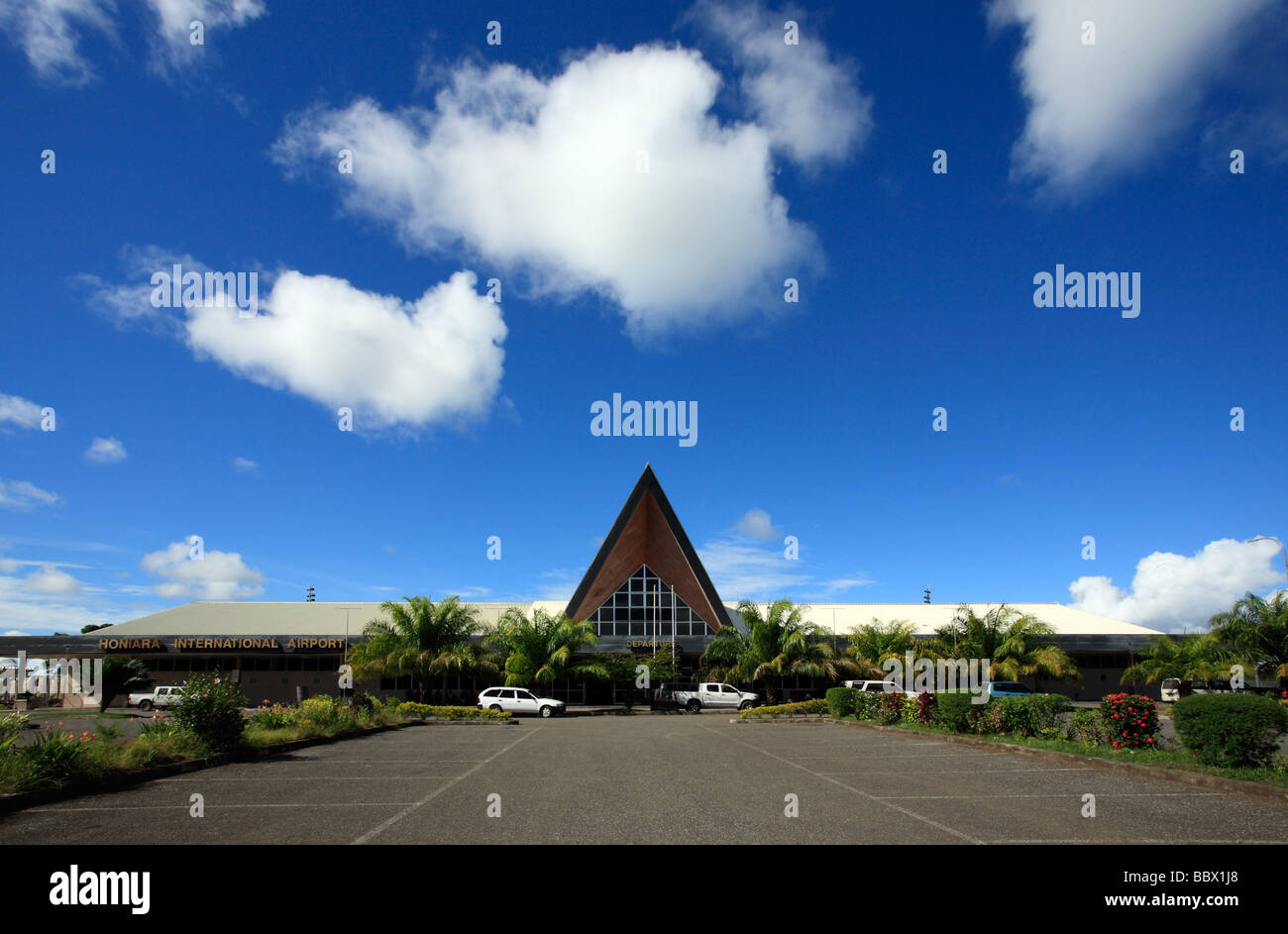 Honiara International Airport, known as Henderson Field, is located on the island of Guadalcanal Solomon Islands - Stock Image