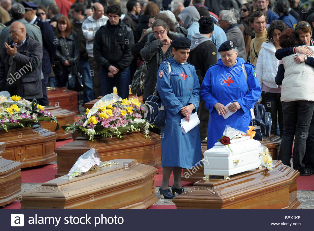 l'aquila 2009, state funeral for the earthquake victims - Stock Image
