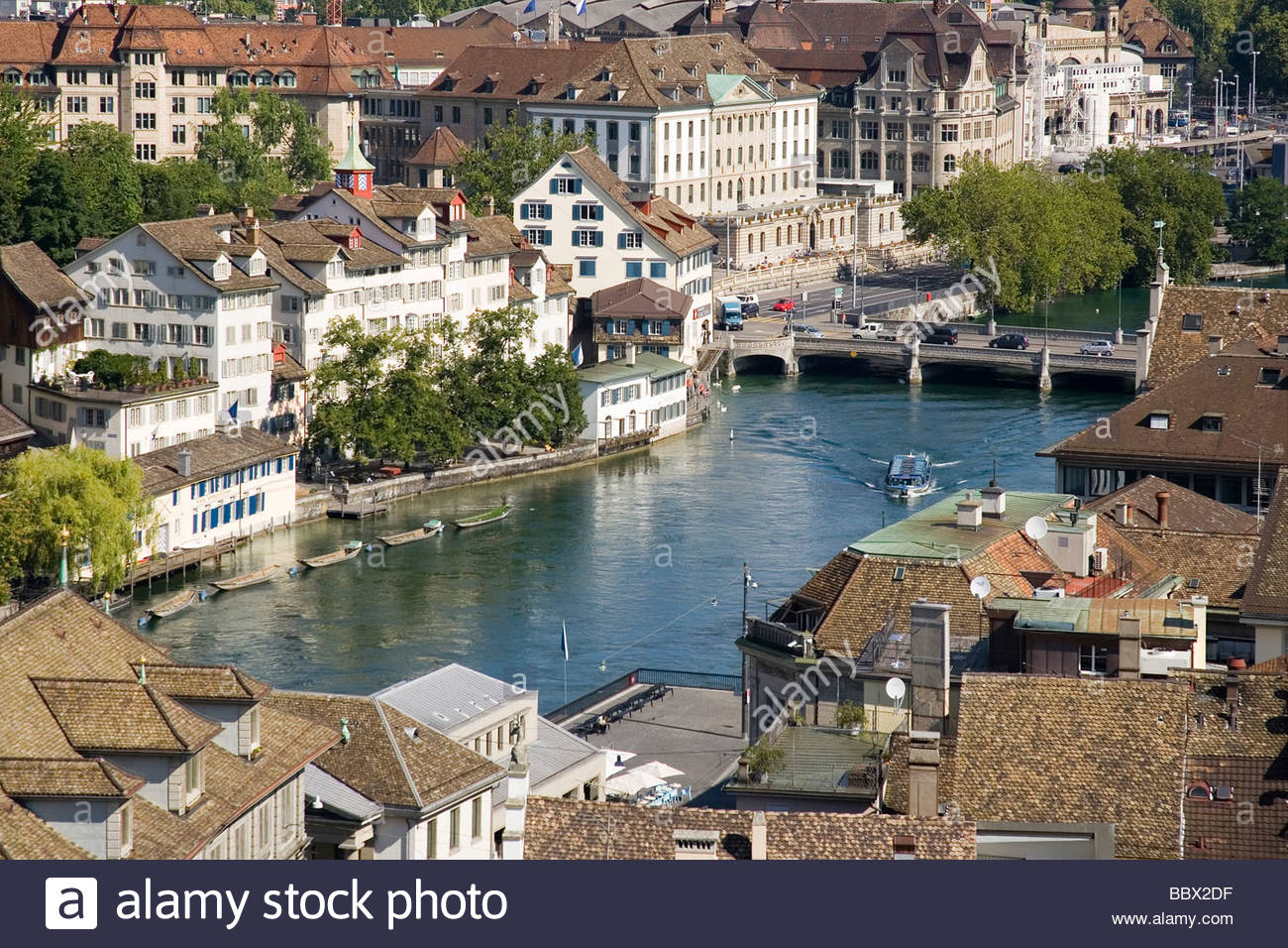 europe, switzerland, zurich, old town, limmat river, fluvial boat - Stock Image