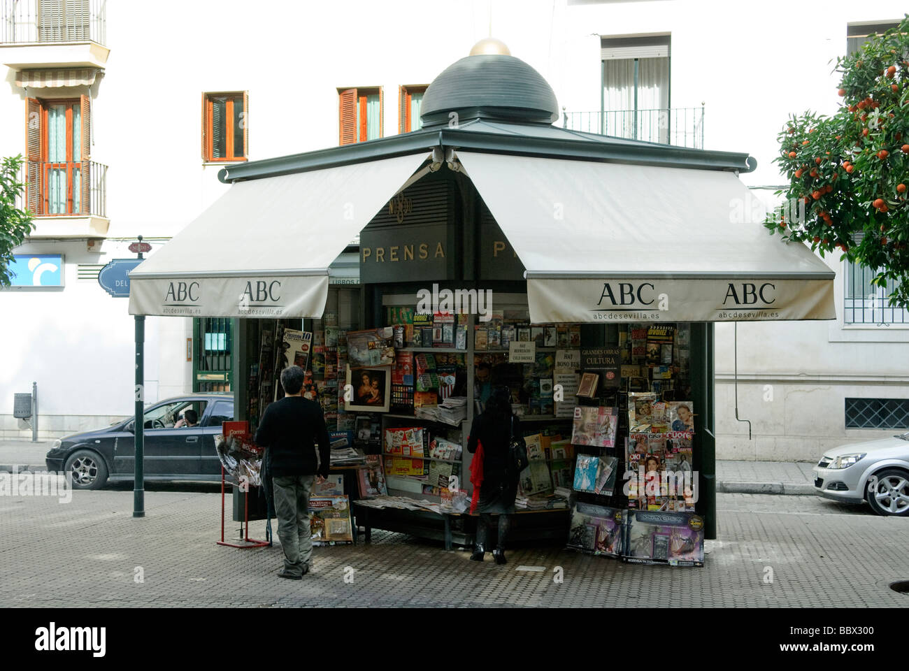 newsstand on Plaza del Museo in Sevilla Andalucia Spain - Stock Image