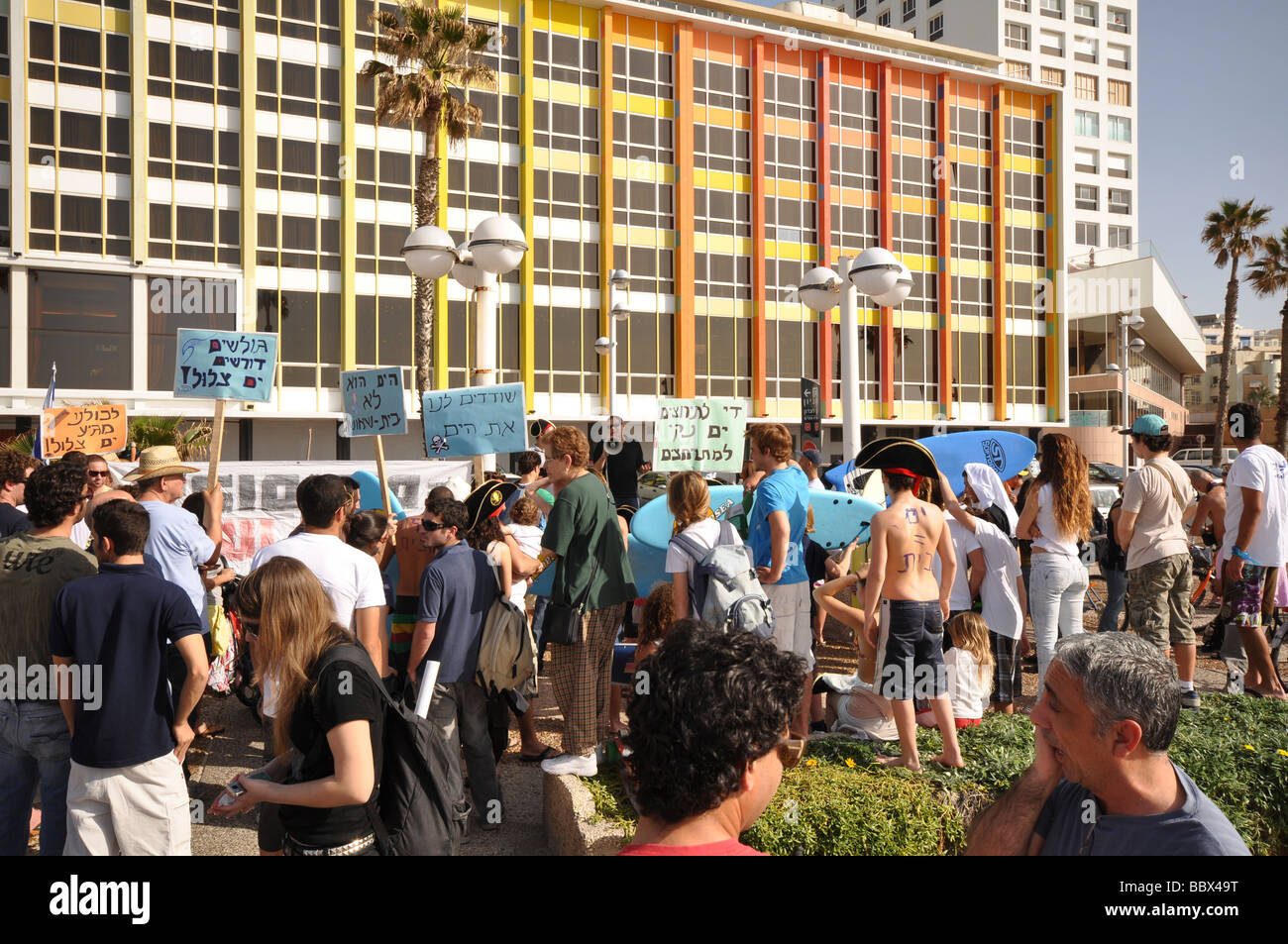Israel Tel Aviv An anti sea pollution protest led by Knesset Member Nitzan Horowitz o - Stock Image