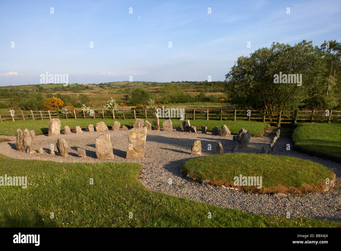 drumskinney stone circle cairn and alignment stone row county fermanagh northern ireland uk - Stock Image