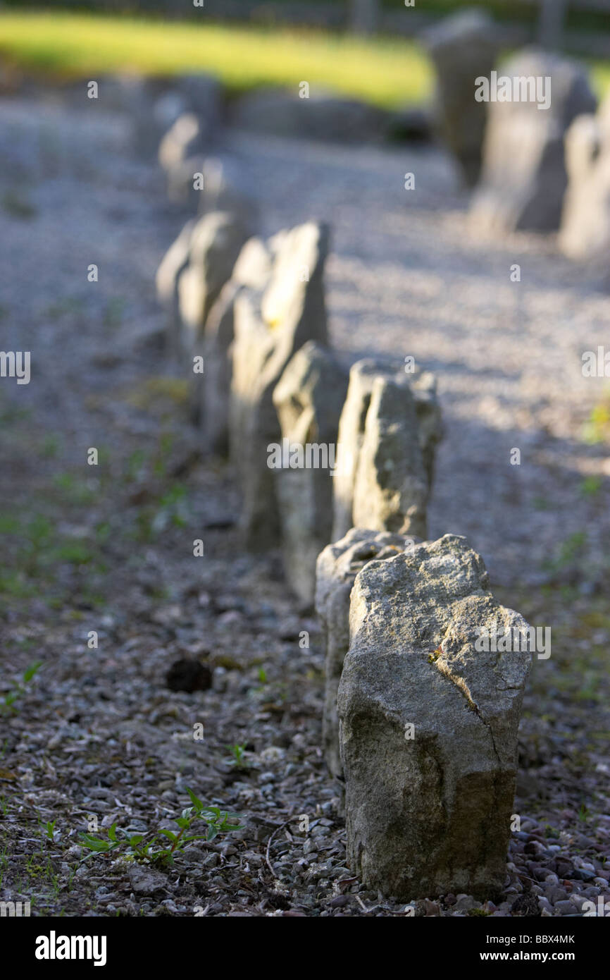 drumskinney alignment stone row county fermanagh northern ireland uk - Stock Image