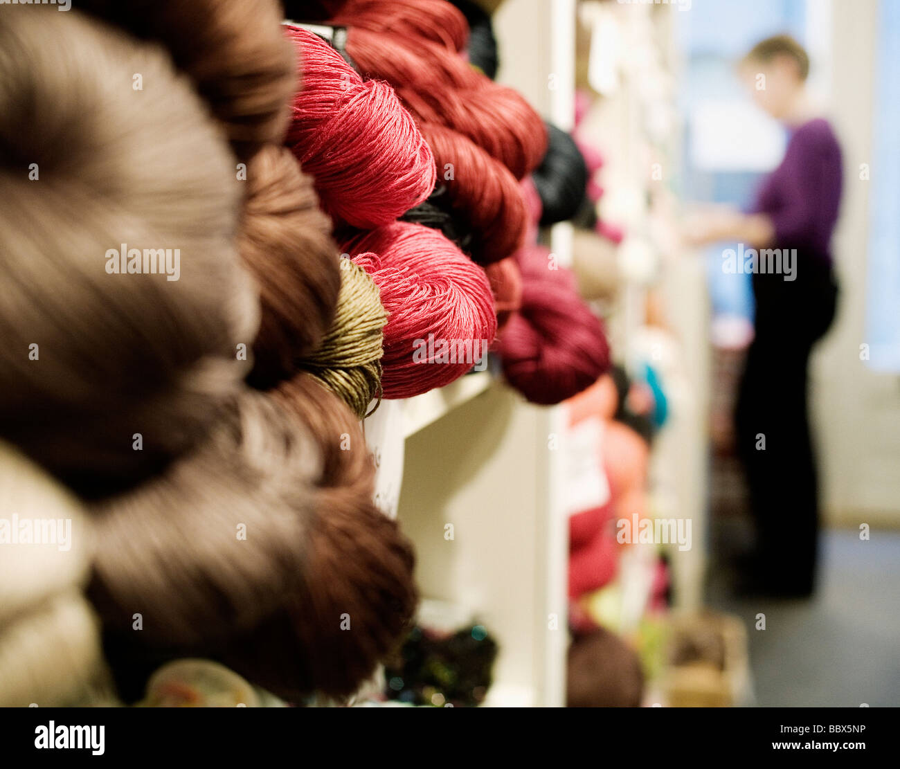 Balls of yarn in a shop Sweden. - Stock Image