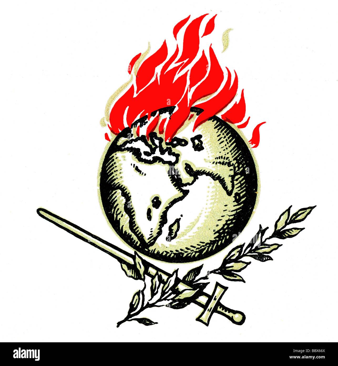 events, First World War / WWI, propaganda, symbol, 20th century, globe, earth, burning, flames, flame, fire, sword, - Stock Image