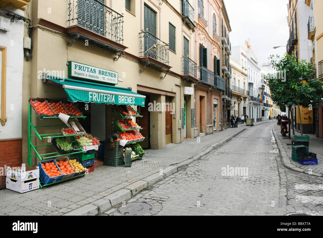 fruit and vegetable shop in Sevilla Andalucia Spain - Stock Image