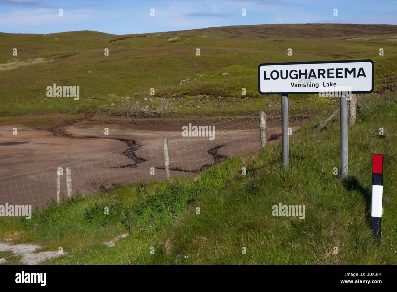 loughareema vanishing lake county antrim northern ireland uk The lake drains into a sinkhole - Stock Image