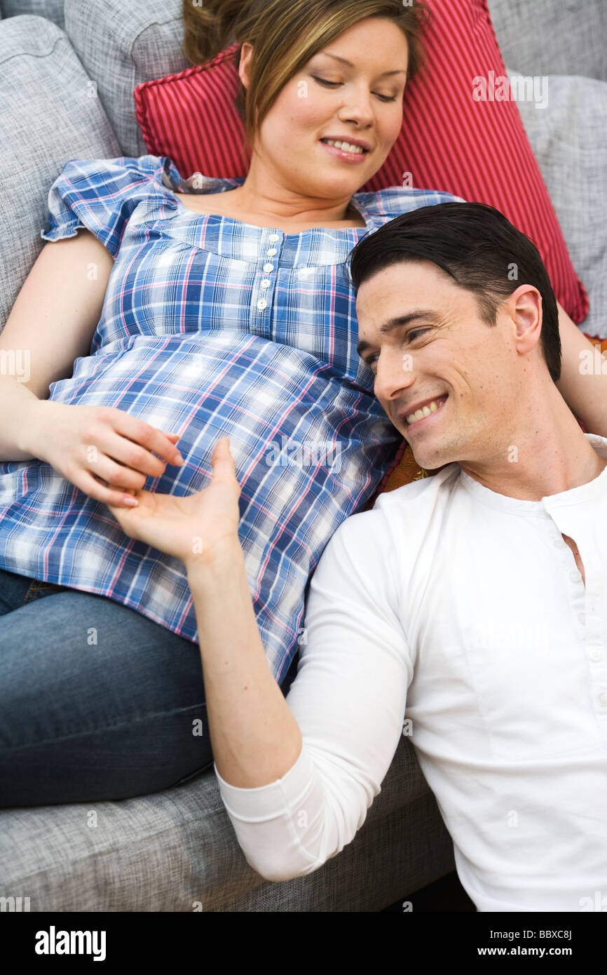 A man and a pregnant woman Sweden. - Stock Image