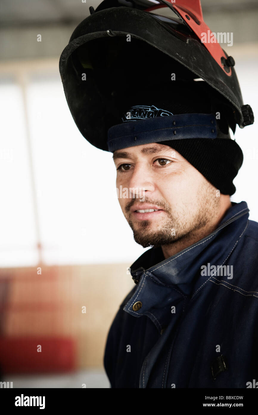 A building worker at a building site Sweden. Stock Photo