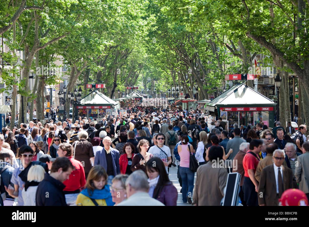 La Ramblas, Barcelona, Spain - Stock Image