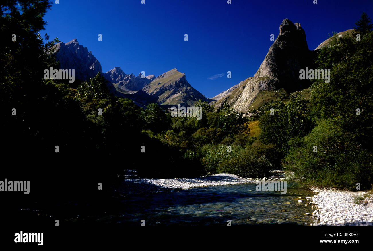 View of Val Maira in Piedmont. - Stock Image