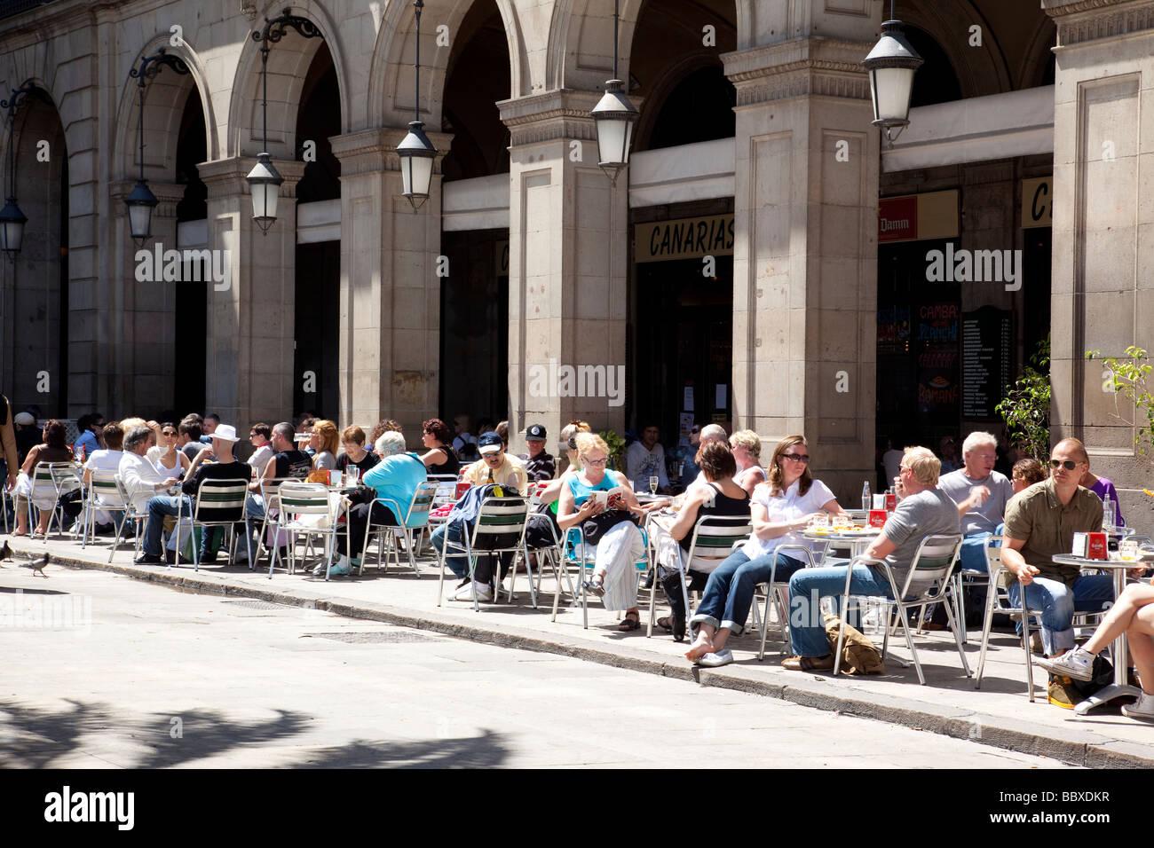 Pavement Cafes Placa Reial Barcelona Spain - Stock Image