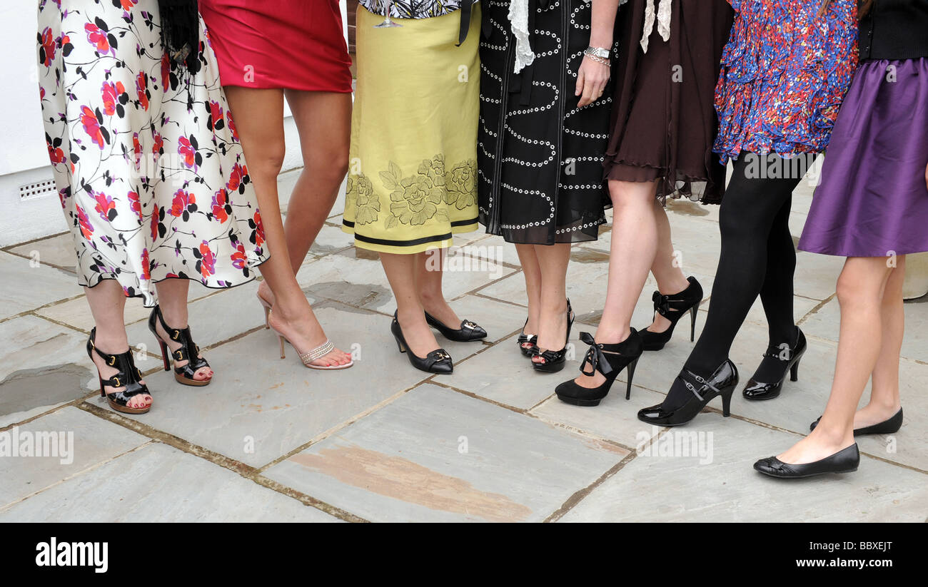 Selection of women's shoes at a wedding, UK - Stock Image