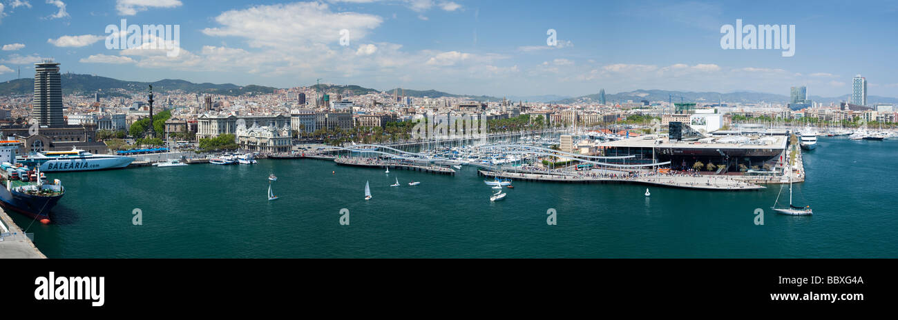 Panoramic view over Barcelona Harbour, Barcelona, Spain - Stock Image