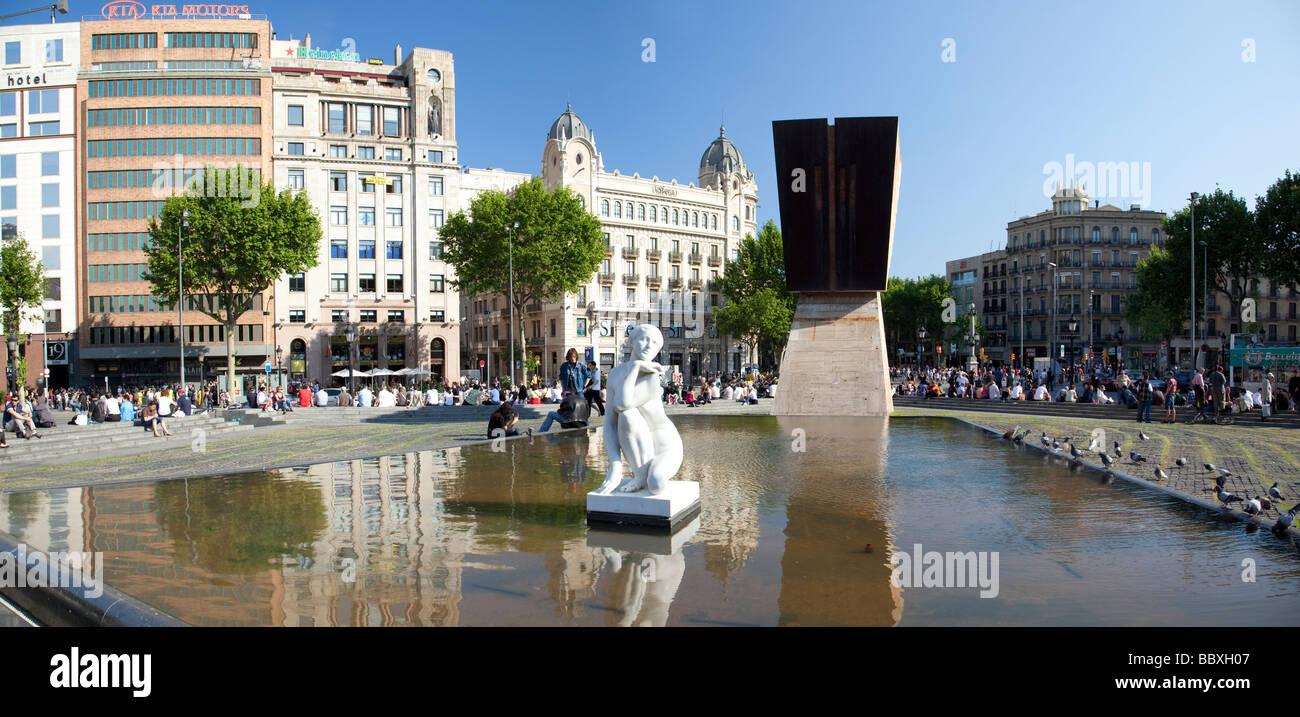 Catalunya Square, Barcelona, Spain - Stock Image