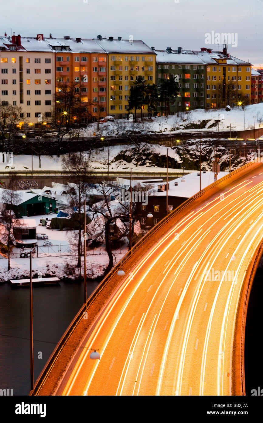 Traffic in winter Stockholm Sweden. - Stock Image