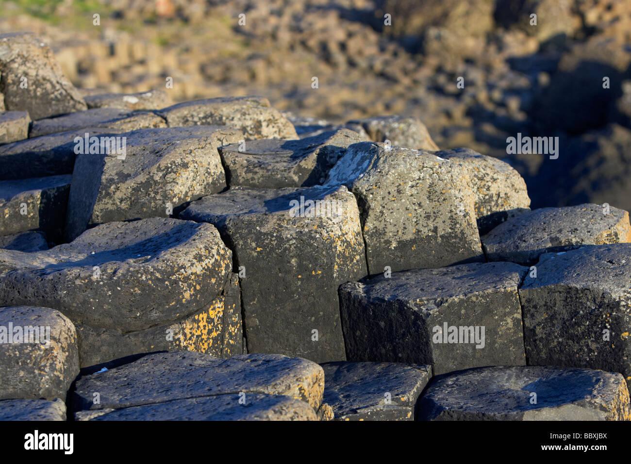 hexagonal basalt column steps on the giants causeway county antrim coast northern ireland uk europe - Stock Image