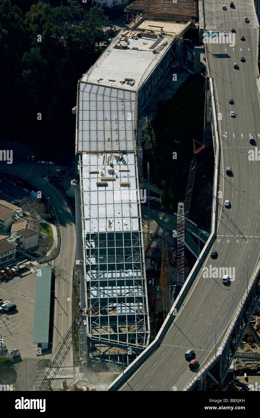 aerial view above construction of San Francisco Oakland Bay Bridge replacement span - Stock Image