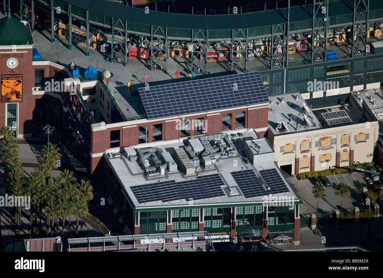 aerial view above solar panels at AT&T Giants baseball stadium San Francisco California Stock Photo