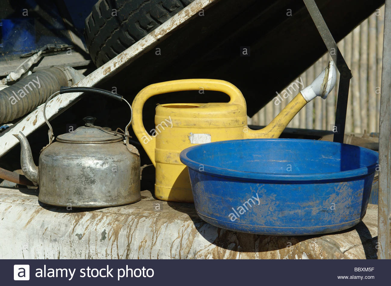 Washing and cooking camping equipment used by explorer Kypros in Mozambique Southern Africa Stock Photo