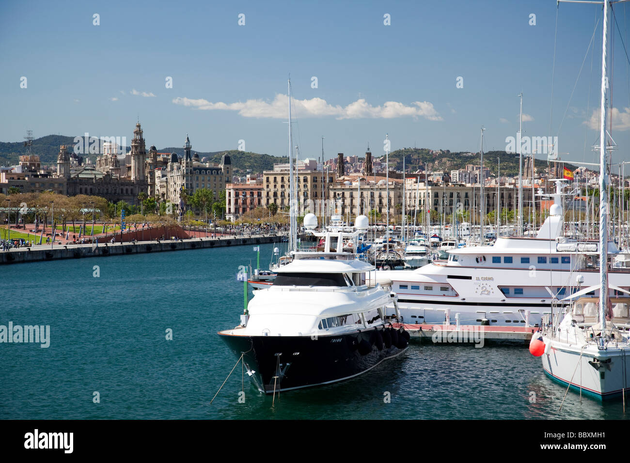 Boats in the harbour Barcelona Spain - Stock Image
