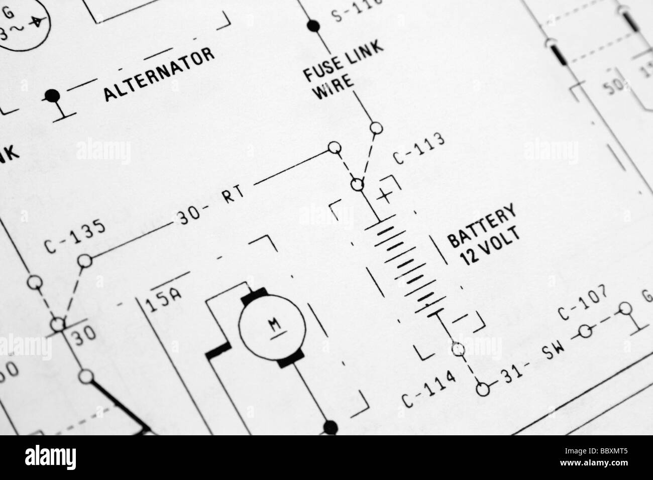 electrical wiring diagram - Stock Image