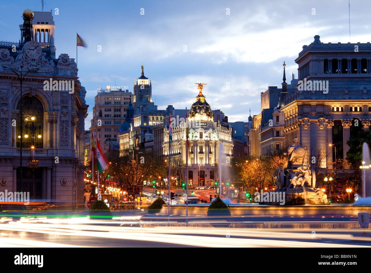 View over Plaza de Cibeles towards the Gran Via Madid Spain - Stock Image