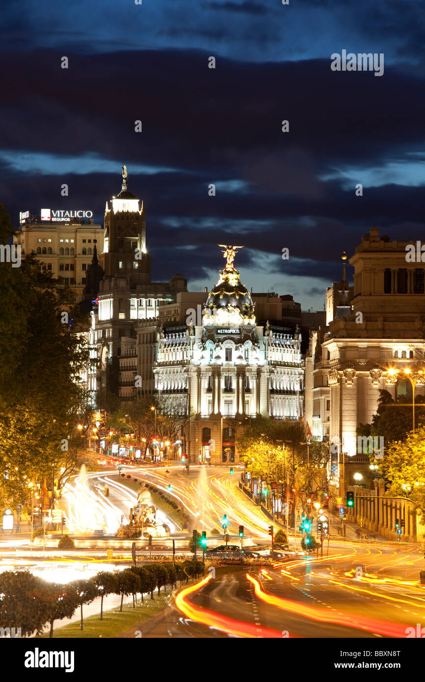 View over Plaza de Cibeles towards the Gran Via Madid Spain - Stock Image
