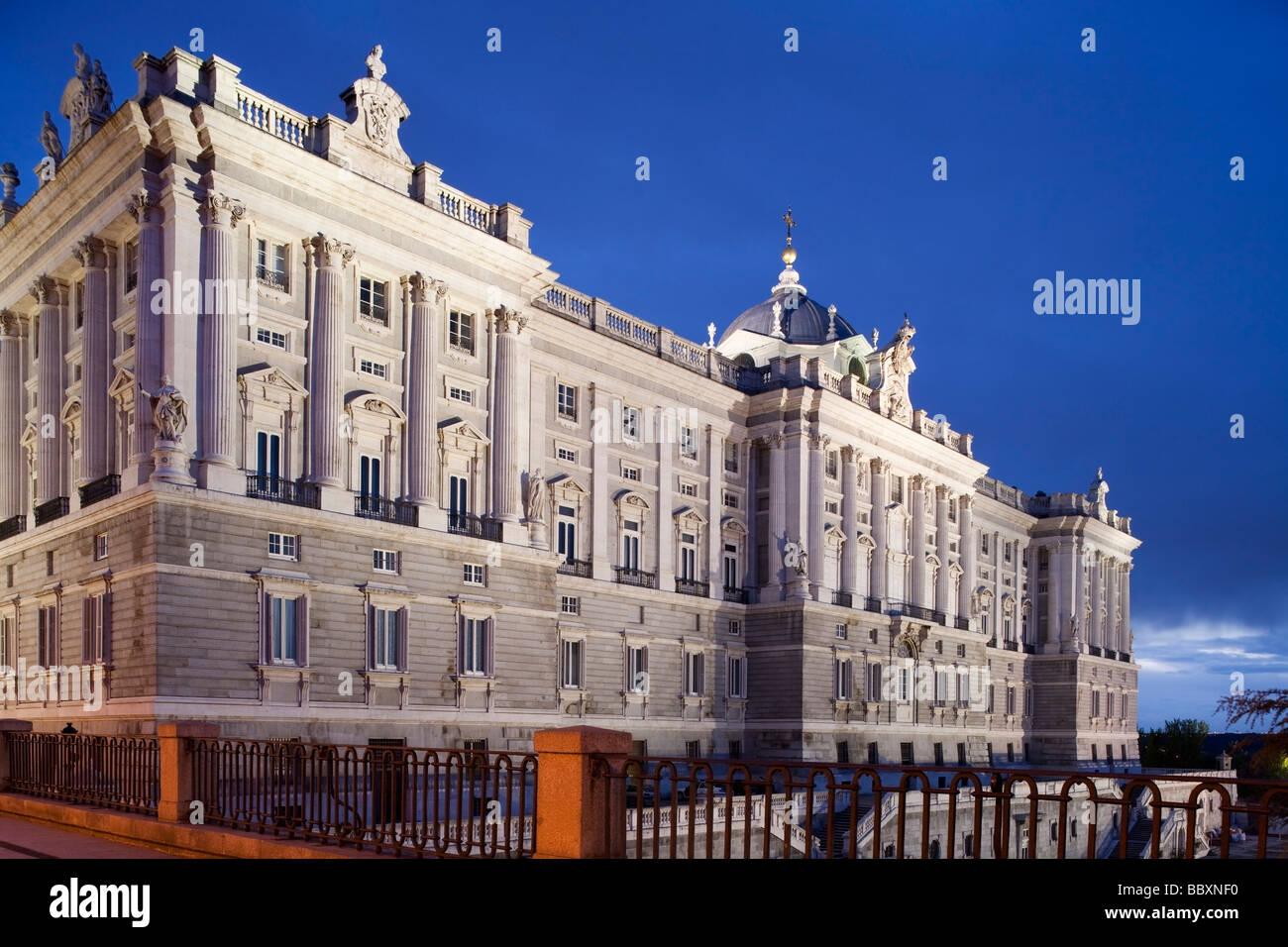 Royal Palace illuminated, Madrid, Spain - Stock Image