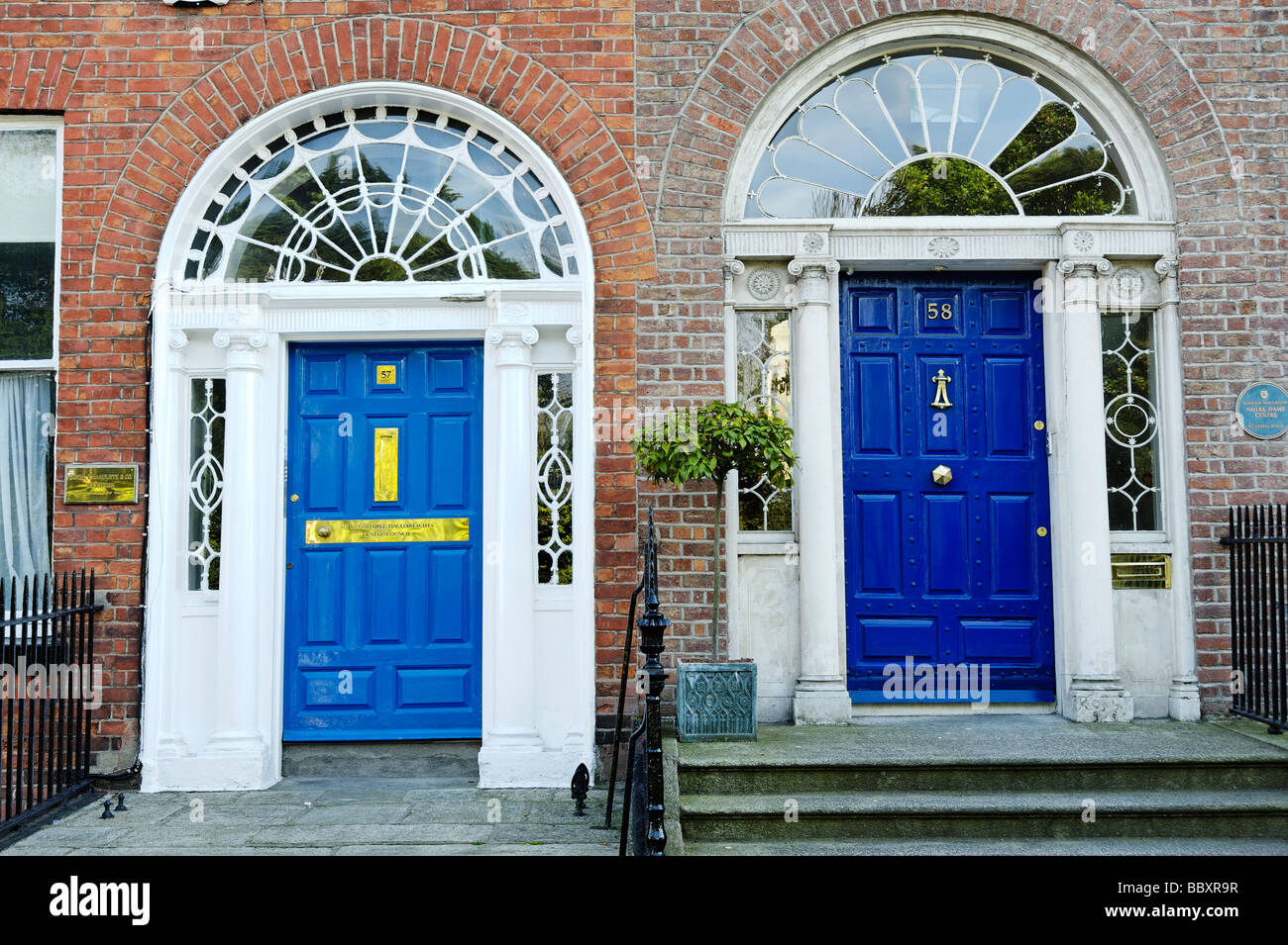 Colourful blue doors on entrances to terraced houses around Merrion Square Dublin Republic of Ireland - Stock Image