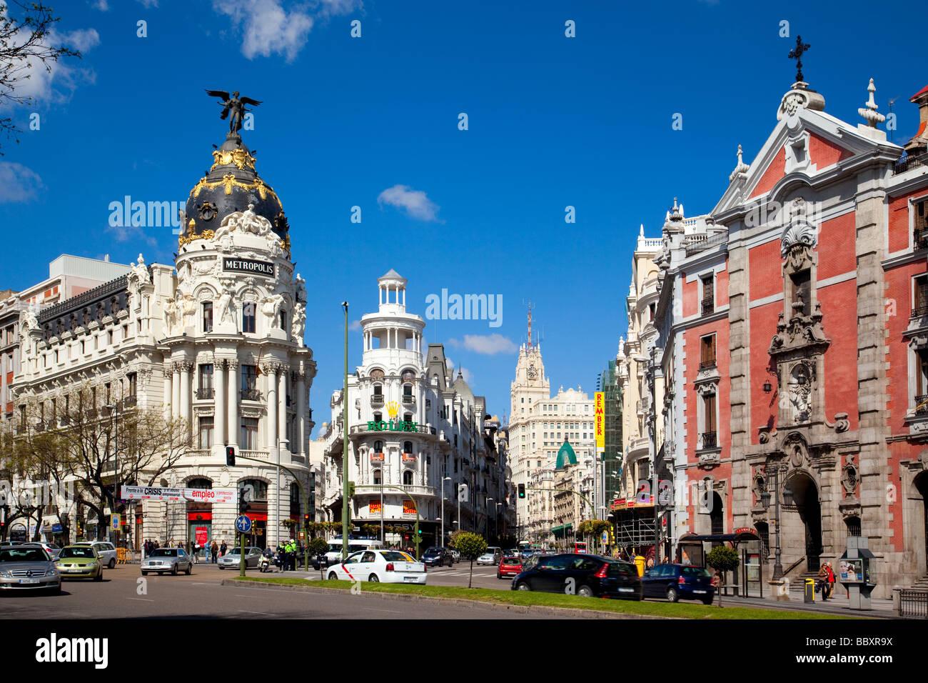 Gran Via Madid Spain - Stock Image