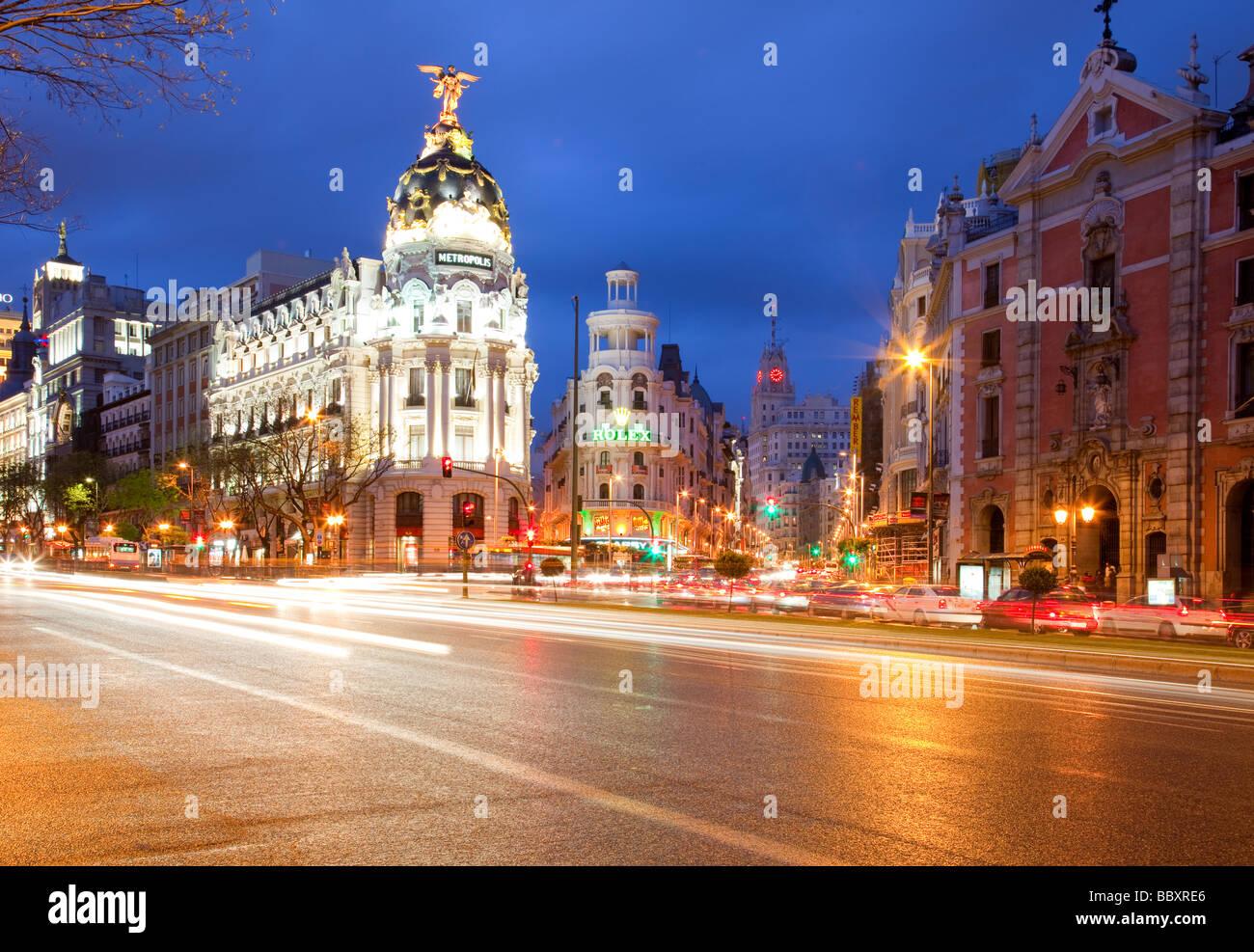 View along the Gran Via at dusk Madrid Spain - Stock Image