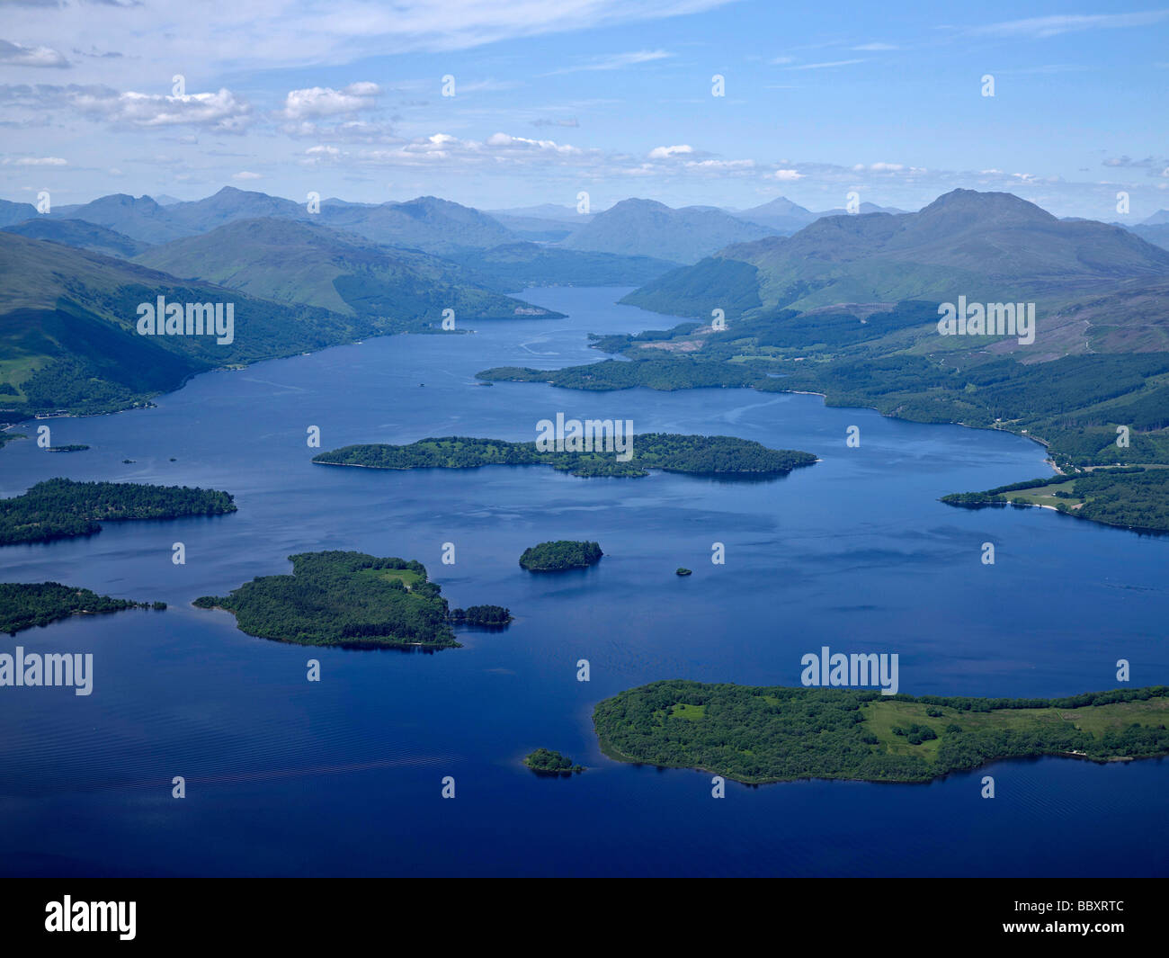 Looking up Loch Lomond from the south with Ben Lomond on the right, Western Scotland - Stock Image