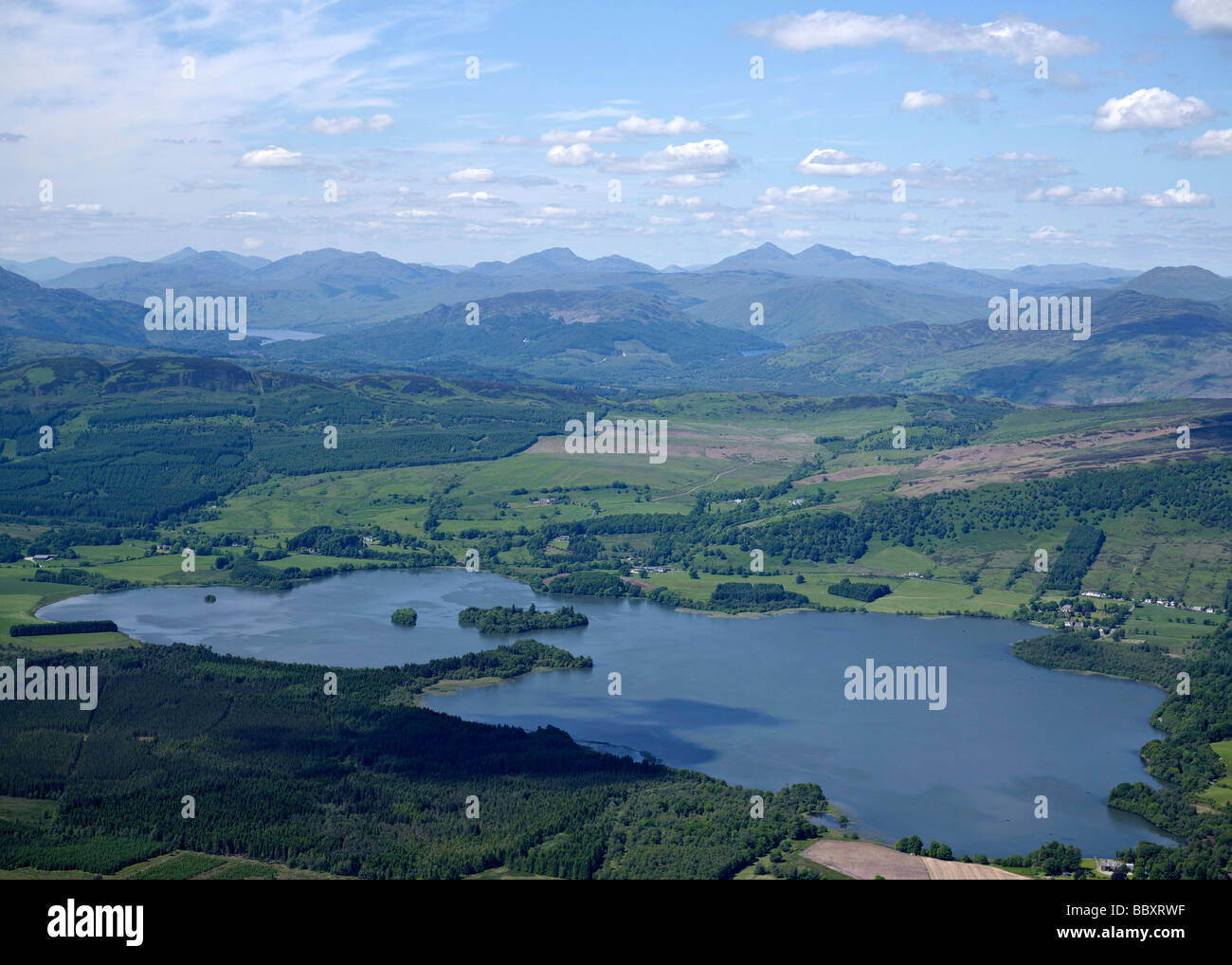 The Lake of Monteith, Stirling, Western Scotland, with the Trossachs behind - Stock Image