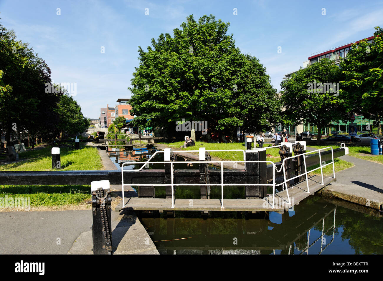 Lock gate of the Grand Canal in Dublin Republic of Ireland - Stock Image