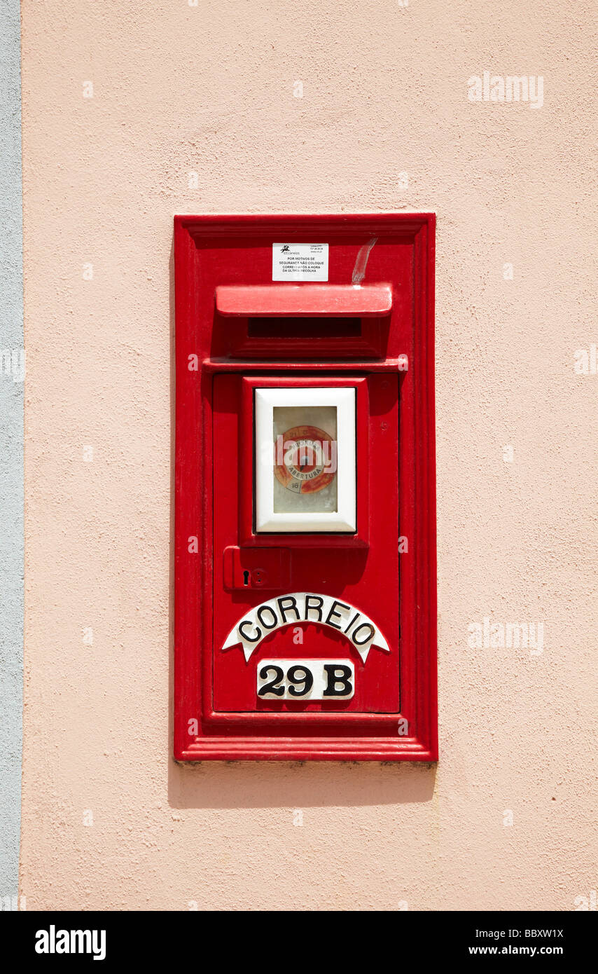 red letter post box, Sintra, Portugal - Stock Image